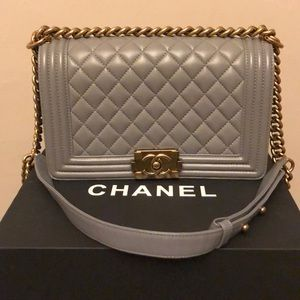 Chanel Boy Bag Medium Grey with Gold hardware